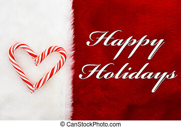 Happy Holidays, A plush red stocking with Candy Canes Heart...