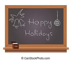 Happy holidays text on a school bla