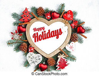 Happy Holidays Text with Holiday Evergreen Branches, frame in the shape of a heart