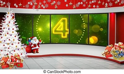 Happy New Year 2021 text with Opener Countdown and Golden and Green colour shining in window motion background for TV program with holiday theme. Seamless loopable HD video.