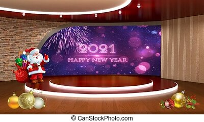 Happy New Year 2021 text and Purple colour shining bokeh baubles in window motion background for TV program with holiday theme. Seamless loopable HD video.