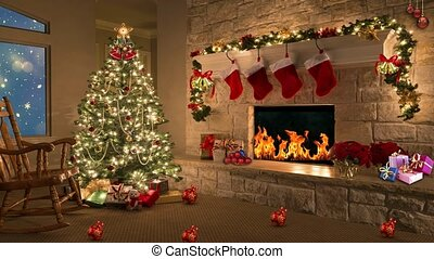 White snowflakes with fire works display in window, background for TV program with holiday theme. Seamless loopable HD video.