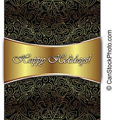 Happy Holidays Vector Card - Happy Holiday Elegant ...