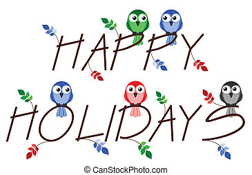 Happy Holidays twig text isolated on white background
