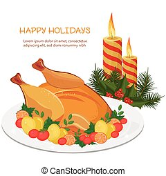 Happy Holidays Vector with turkey and candles