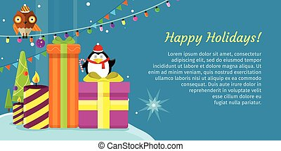 Happy Holidays Web Banner. Merry Christmas