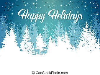 Happy Holidays Winter Mountain Forest Landscape Background, ...