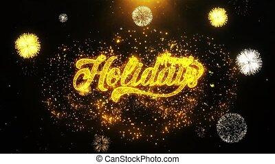 Happy Holidays Wishes Greetings card, Invitation, Celebration Firework Looped