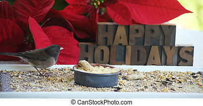 Happy Holidays with bird and poinsettias