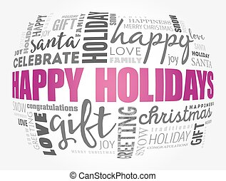 Happy Holidays word cloud collage, holiday concept