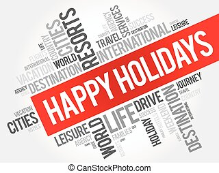 Happy holidays word cloud collage
