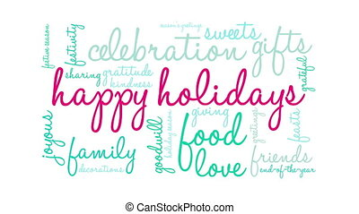 Happy Holidays word cloud. - Happy Holidays word cloud on a ...