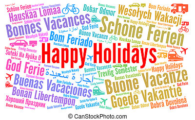 Happy holidays word cloud in different languages