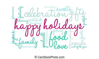 Happy Holidays word cloud. - Happy Holidays word cloud on a...