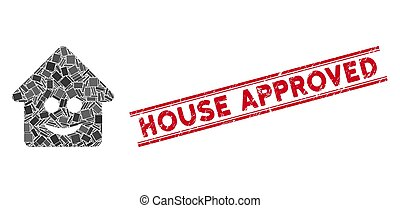 Happy Home Mosaic and Scratched House Approved Stamp Seal with Lines