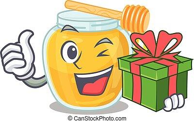 Happy honey character having a gift box