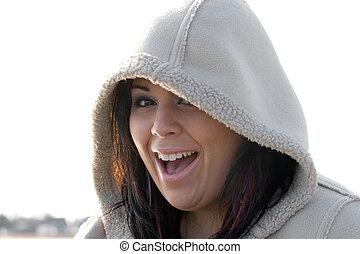 Happy Hooded Woman
