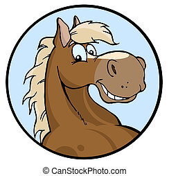 Happy Horse Illustration - Happy Horse Face Over A Blue...