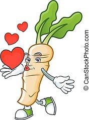 Happy horseradish cartoon character mascot with heart. Vector illustration