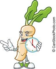 Happy horseradish cartoon mascot style with clock. Vector illustration