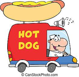 Happy Hot Dog Vendor Driving Truck