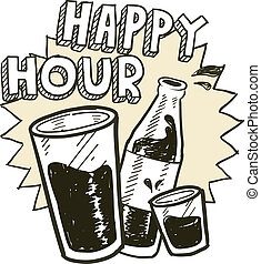 Happy hour alcohol sketch - Doodle style happy hour alcohol...