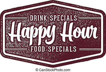 Happy Hour Bar and Restaurant Sign - Vintage style...