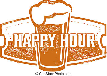 Happy Hour Beer Specials - Vintage style happy hour beer...