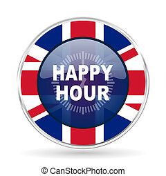 happy hour british design icon - round silver metallic border button with Great Britain flag