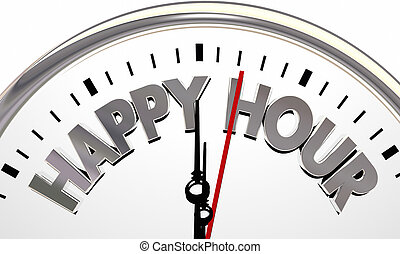 Happy Hour Clock Time Special Offer Bar Drinking Sale 3d Illustration