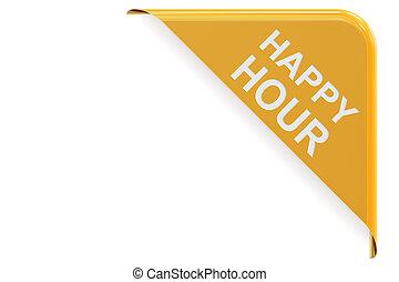 Happy Hour concept, green corner. Sale and discount concept 3D rendering