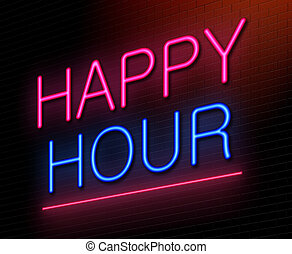 Happy hour concept. - Illustration depicting an illuminated...