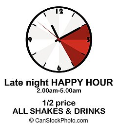 Happy hour concept with clock for pubs or clubs