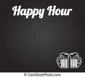 happy hour design over black background vector illustration
