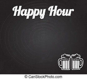 happy hour design over black background vector illustration