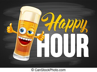 Happy Hour Design Template - Happy Hour. Vintage vector...