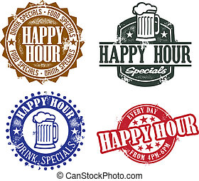 A selection of graphics for bars and restaurants for happy hour.