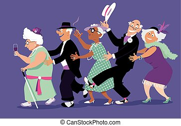 Group of active seniors dressed in retro fashion dancing conga line, EPS 8 vector illustration