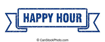happy hour grunge ribbon. happy hour sign. happy hour banner