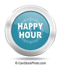 happy hour icon, blue round glossy metallic button, web and mobile app design illustration