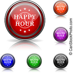 Happy hour icon - Shiny glossy colored icons - six colors...