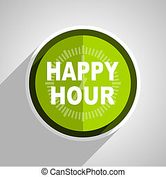 happy hour icon, green circle flat design internet button, web and mobile app illustration