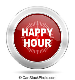happy hour icon, red round glossy metallic button, web and mobile app design illustration