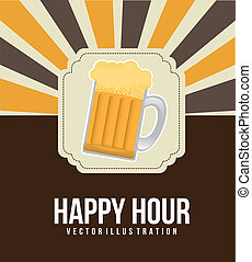 happy hour illustration with beer over vintage background....