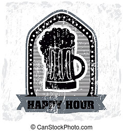 happy hour label over white background vector illustration