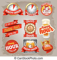 Set of happy hour labels for restaurant, bar, cafe and shops.