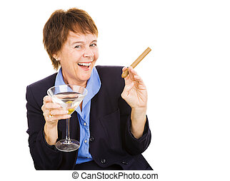 Happy Hour - Mature businesswoman partying with a martini...