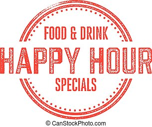 Happy Hour Menu Specials - Vintage style rubber stamp for...