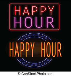 Happy hour neon sign - Happy hour glowing neon sign on...