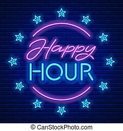 Happy Hour Neon Sign - Happy Hour. Realistic neon sign on...